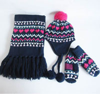 girl's jacquard scarf,hat and mitten set