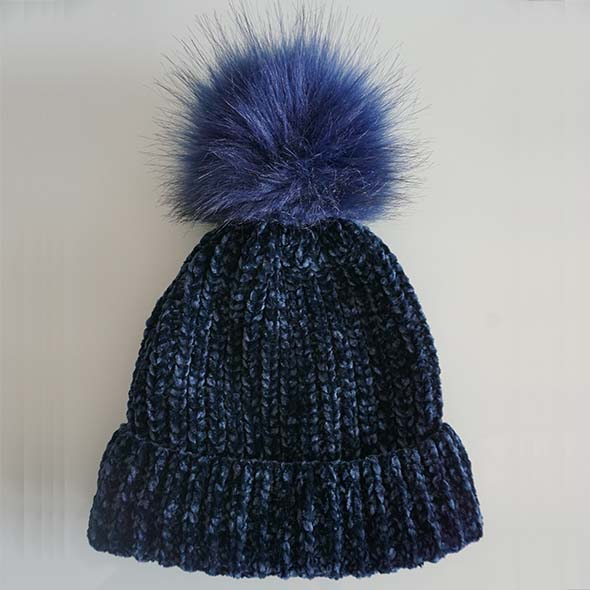chenille beanie with fake fur pompon